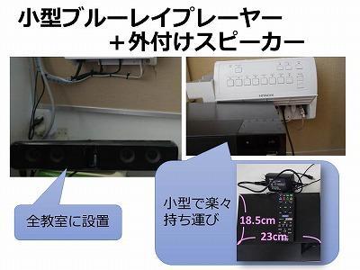 電子黒板-小型ブルーレイプレーヤー+外付けスピーカー